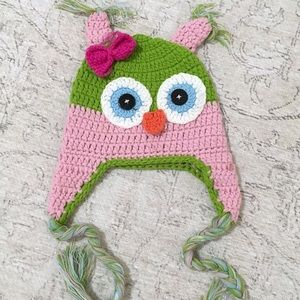 Pink & Green Cashmere Owl Knit Hat